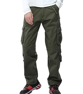 20f63d830088d AYG Mens Winter Fleece Lined Trousers Outdoor Work Cargo Pants Thicken  Workwear Cotton