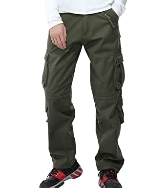 Cargo Pants Multi Pocket Thick Warm Winter Cargo Pants Men Camouflage Fleece Lined Camo Trousers Plus Size 40 Army Green Snow White