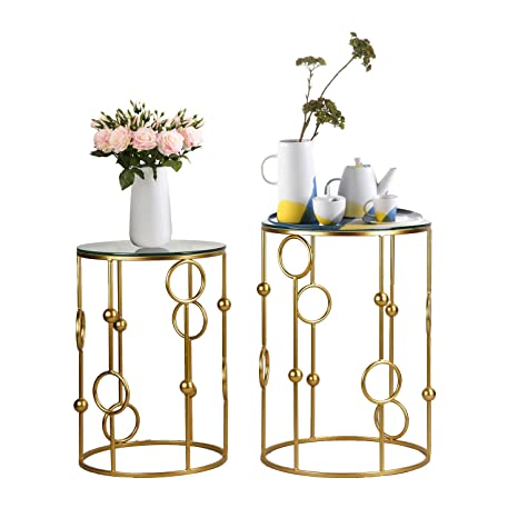 Stupendous Joveco End Tables Set Of 2 Indoor Outdoor Decorative Coffee Table Round Gold Nightstands Gold3 Ibusinesslaw Wood Chair Design Ideas Ibusinesslaworg