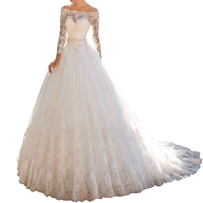 Amazon.com: Vestido de boda para novia, de manga larga, con ...