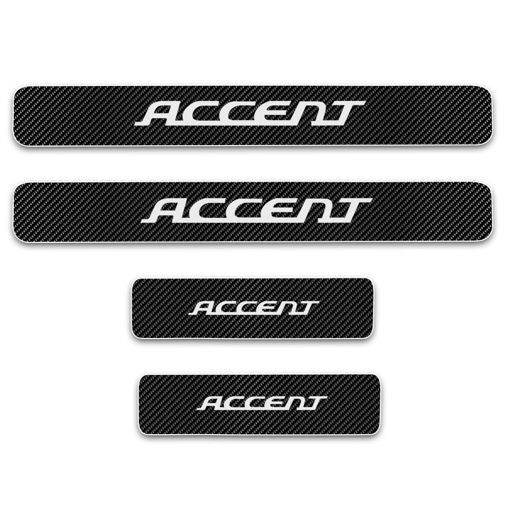 for Hyundai Accent Door Sill Protector Reflective 4D Carbon Fiber Sticker Door Entry Guard Door Sill Scuff Plate Stickers Auto Accessories 4Pcs White