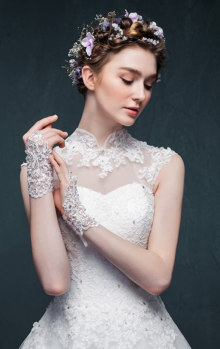 VITORIAS GIFT The Bride Marriage Dress Wedding Sequin Lace Gloves Wedding Gloves /¡/