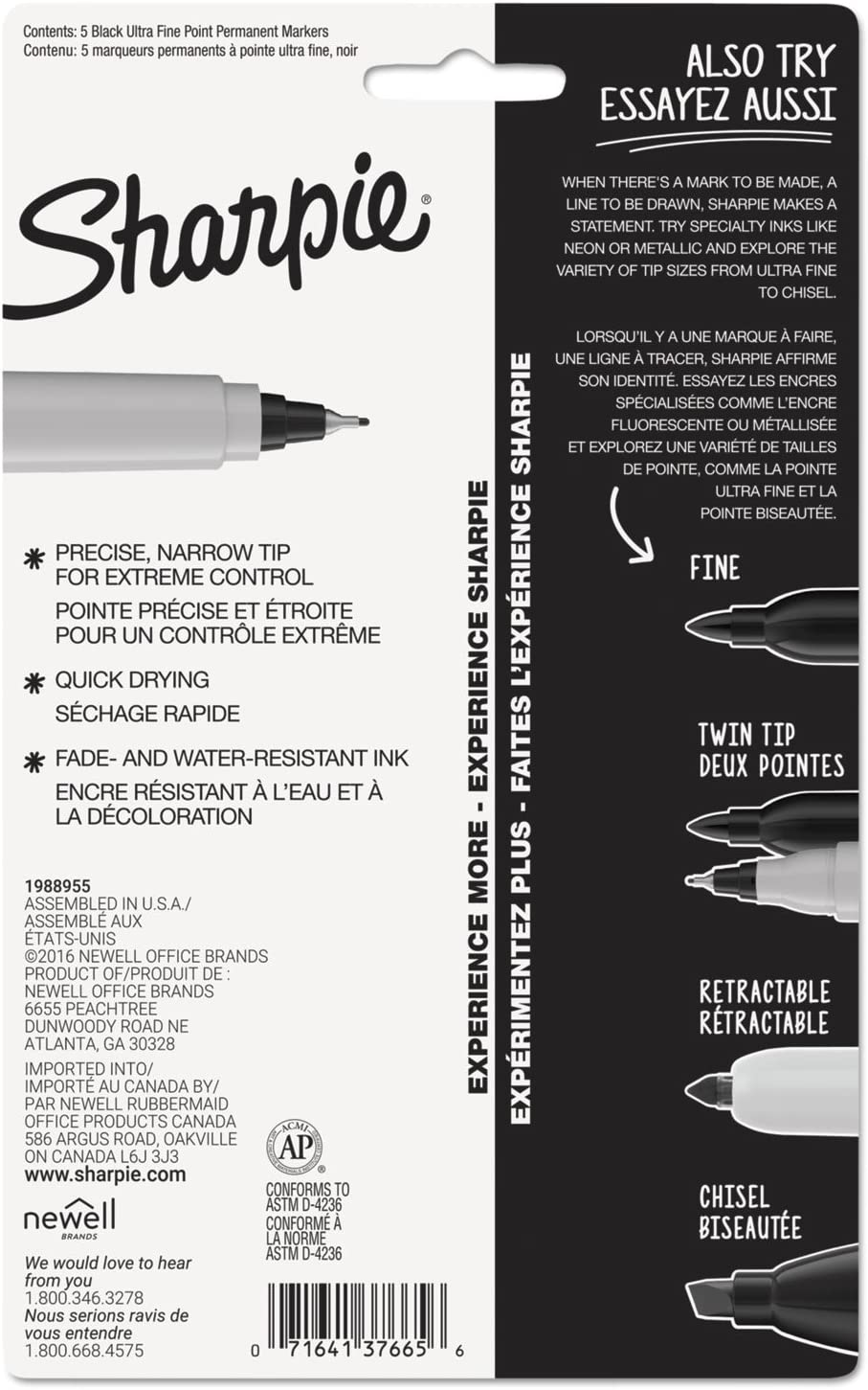 Sharpie Permanent Markers Ultra-Fine Point Dries Quickly And Resists Fading