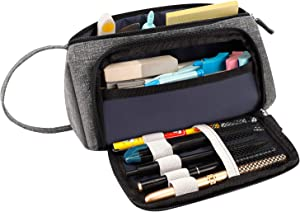 RAGZAN Pencil Case Large Capacity Pen Pouch, Simple Stationery Bag Holder School Supplies for Primary Middle High School College and Office, Idea Gift for Teens Student Adult - Grey