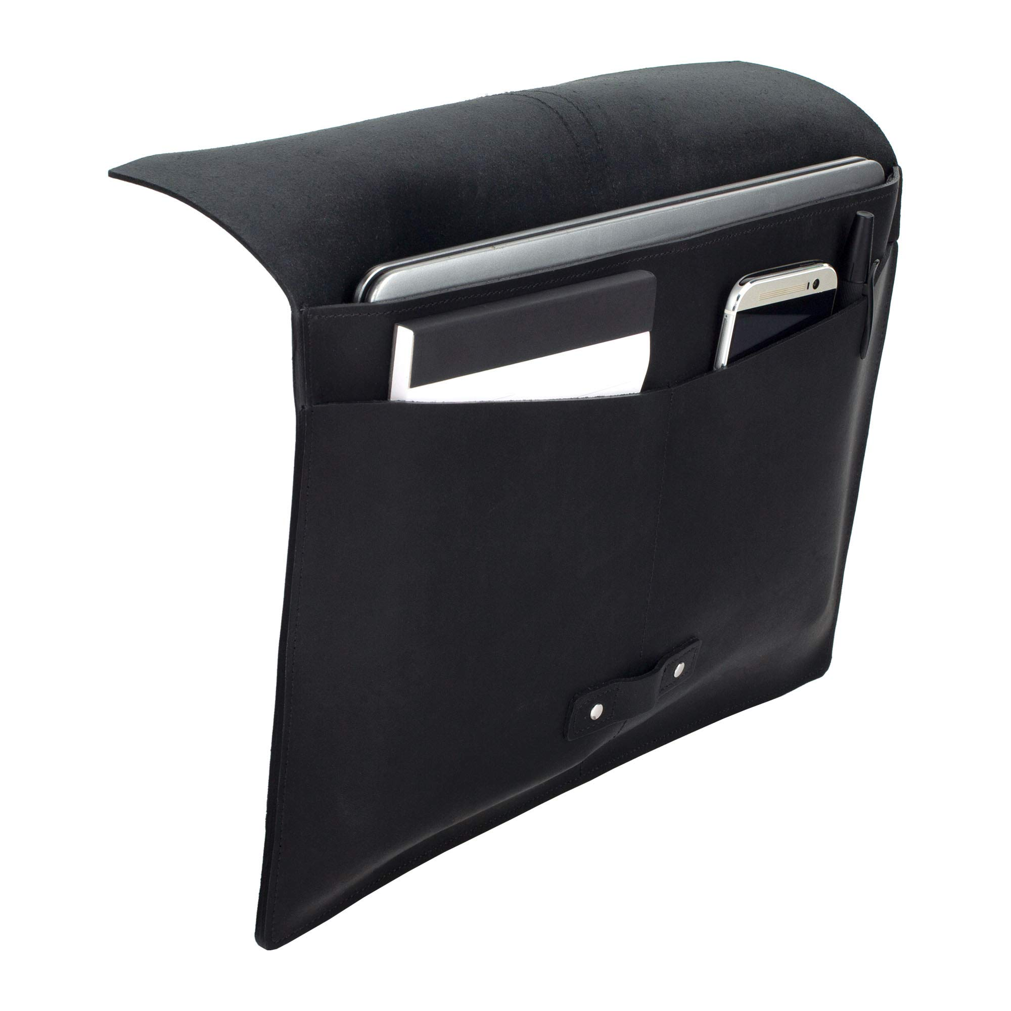 SLATE COLLECTION Belltown Small Laptop Sleeve, Full-Grain Leather (Midnight, fits 13'' Laptop) by SLATE COLLECTION (Image #8)