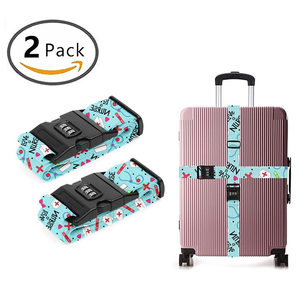 YEAHSPACE Travel Luggage Strap Love A Nurse 2-Pack Adjustable Suitcase Packing Belt with TSA Combination Lock by YEAHSPACE (Image #1)