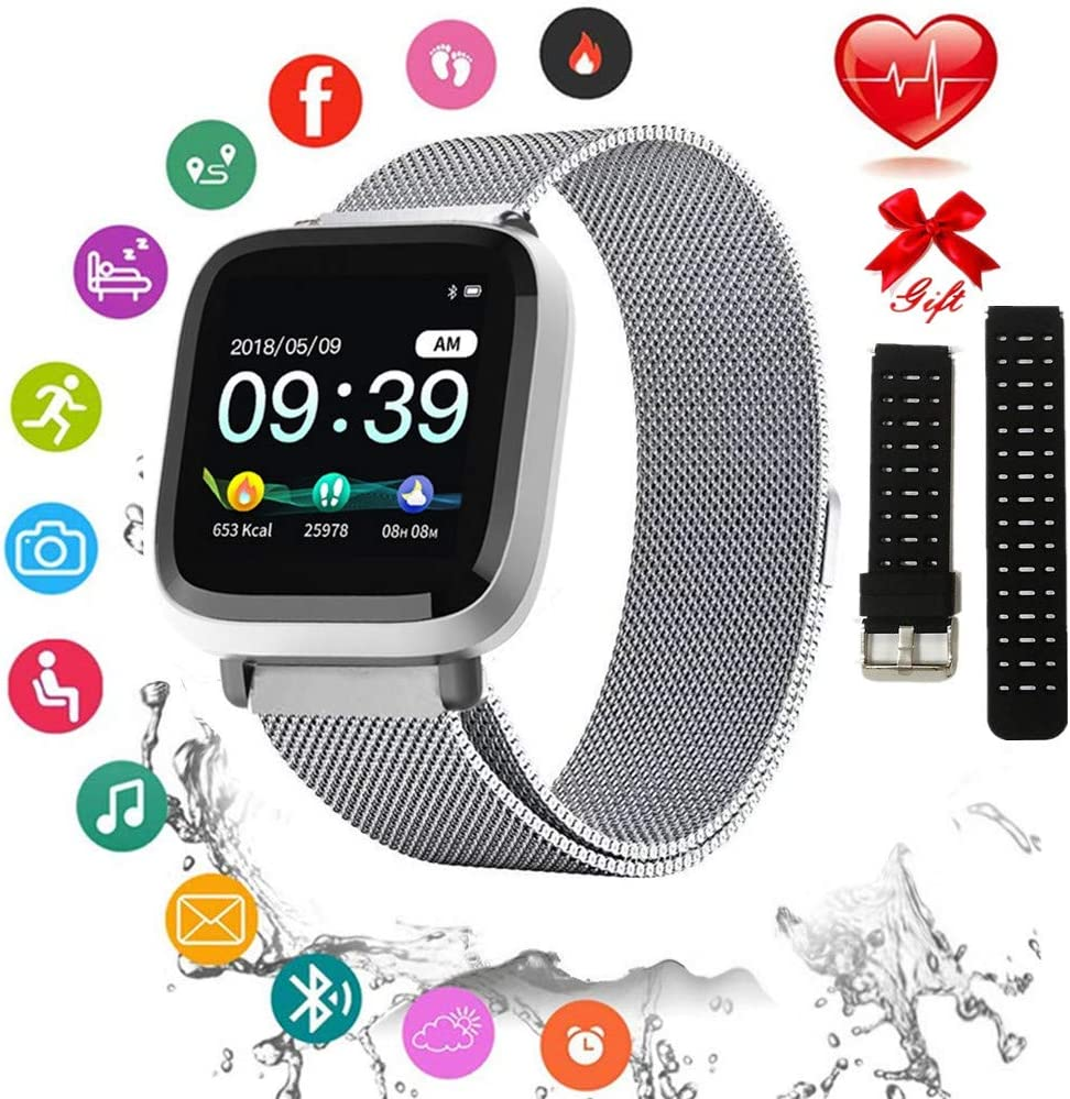 Fitness Tracker with Heart Rate Monitor, Activity Tracker with Connected GPS, IP67 Waterproof Smart Fitness Band with Step Counter, Calorie Counter, 1.3 Inch Pedometer for Kids Women and Men