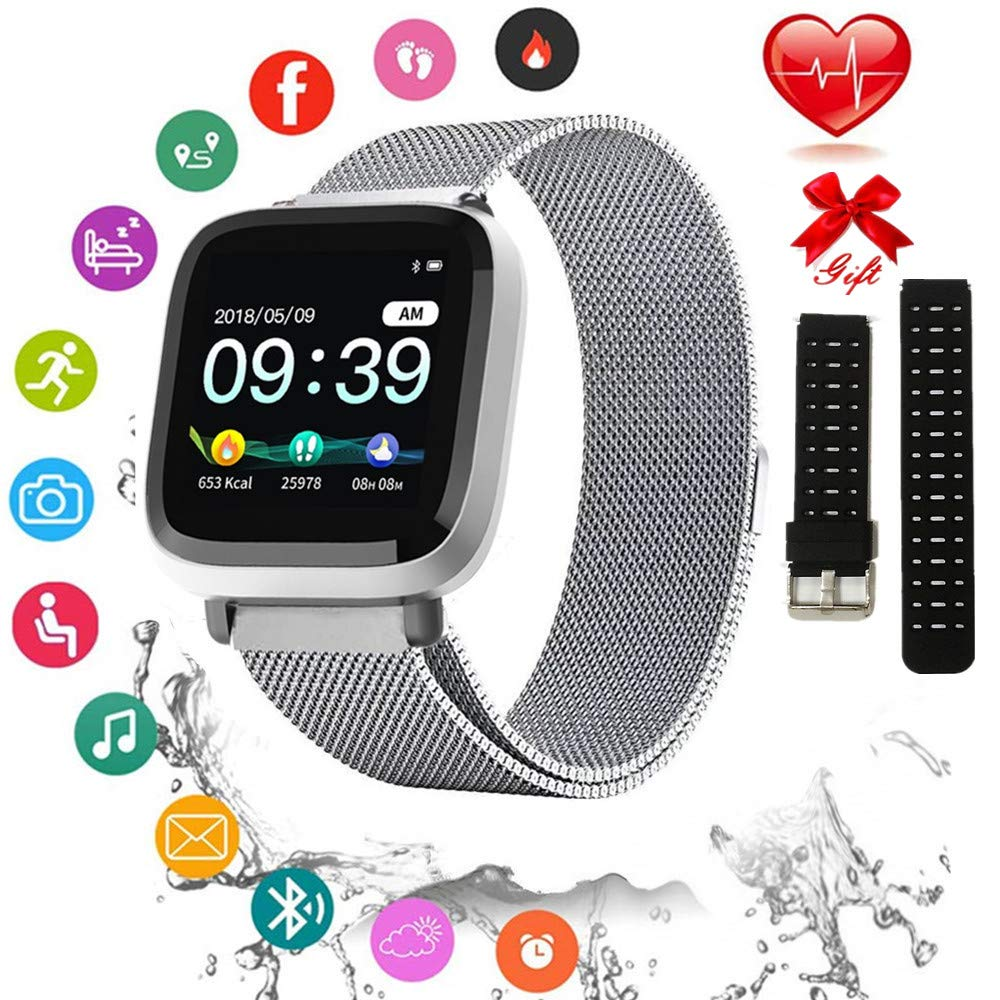 Fitness Tracker with Heart Rate Monitor, Activity Tracker with Connected GPS, IP67 Waterproof Smart Fitness Band with Step Counter, Calorie Counter, 1.3 Inch Pedometer for Kids Women and Men by mozeeda