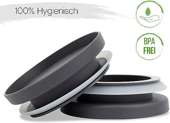BPA frei /& sp/ülmaschinengeeignet 3er-Set modernes K/üchen Design HATTY HAYS Vorratsgl/äser Glas 1,0 /& 0,5 Liter Vorratsdosen Deckel anthrazit grau Vorratsbeh/älter luftdicht