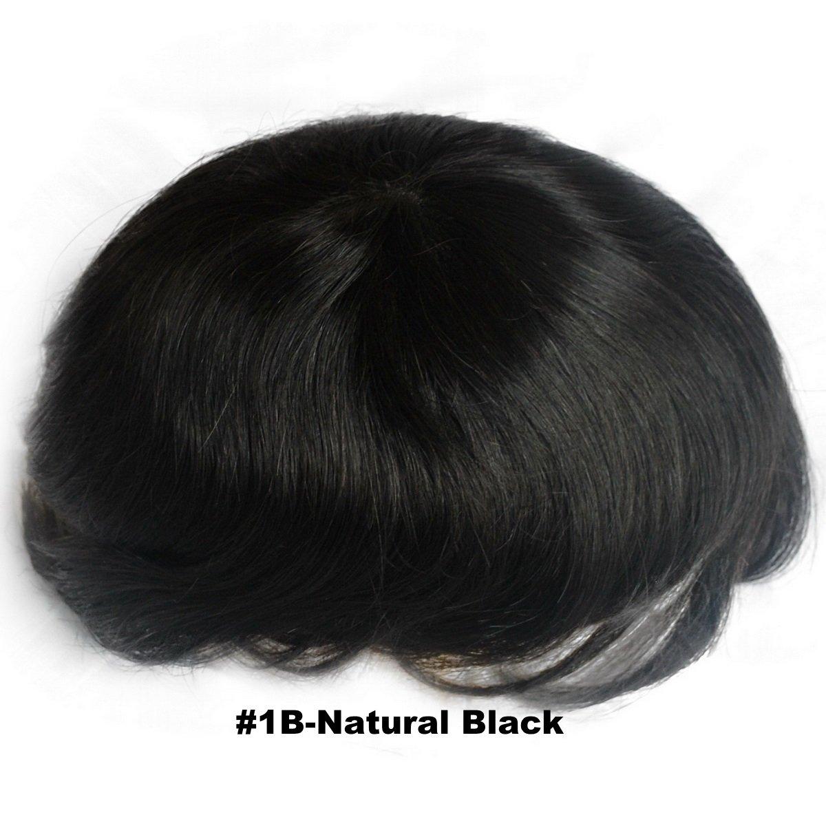 Noir naturel postiches pour homme 1B # Chirurgie de remplacement de tous les cheveux Dentelle Suisse découpable Base