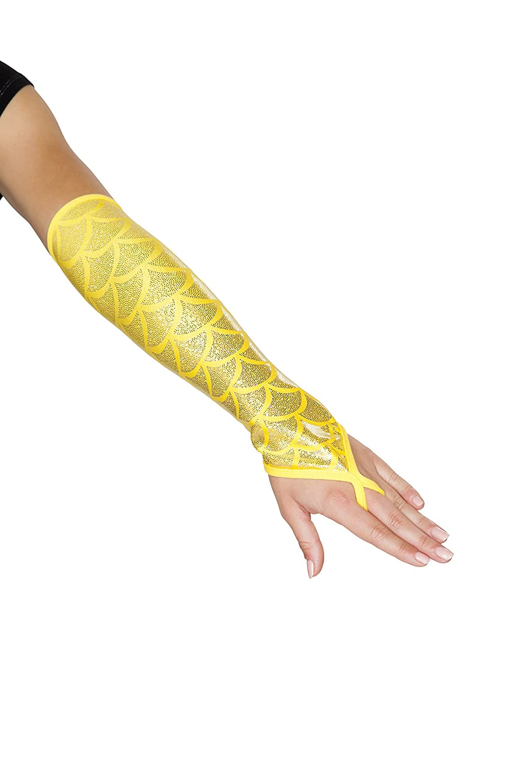 Sexy Women's Shimmery Yellow Mermaid Fingerless Elbow Length Gloves - DeluxeAdultCostumes.com