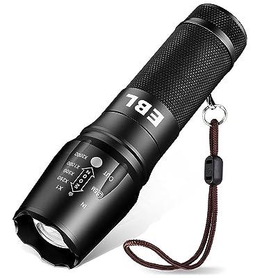 EBL Torche Lampe de Poche LED Ultra Puissante 800-1200LM Rechargeable IP65 Etanche Zoomable 5 Mode d'Intensité Compatible avec Piles AAA 18650 26650 - Noir