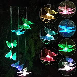 Topspeeder Solar Powered Color-Changing Led Butterfly Wind Chimes Multi Solar Powered Mobile Waterproof Automatic Light Sensor Outdoor Decor(Butterfly)
