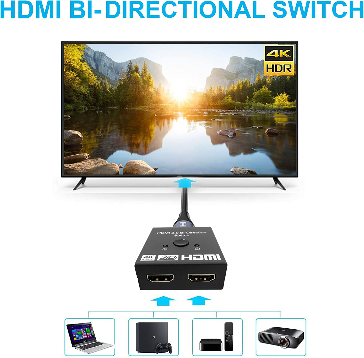 Auprite Bi-Directional HDMI Switch Splitter 2 x 1//1 x 2 4K@60Hz HDMI Switch 2 in 1 Out 2 Port HDMI Switcher Selector Support 4K 3D 1080P for Xbox PS4 PS5 Roku HDTV