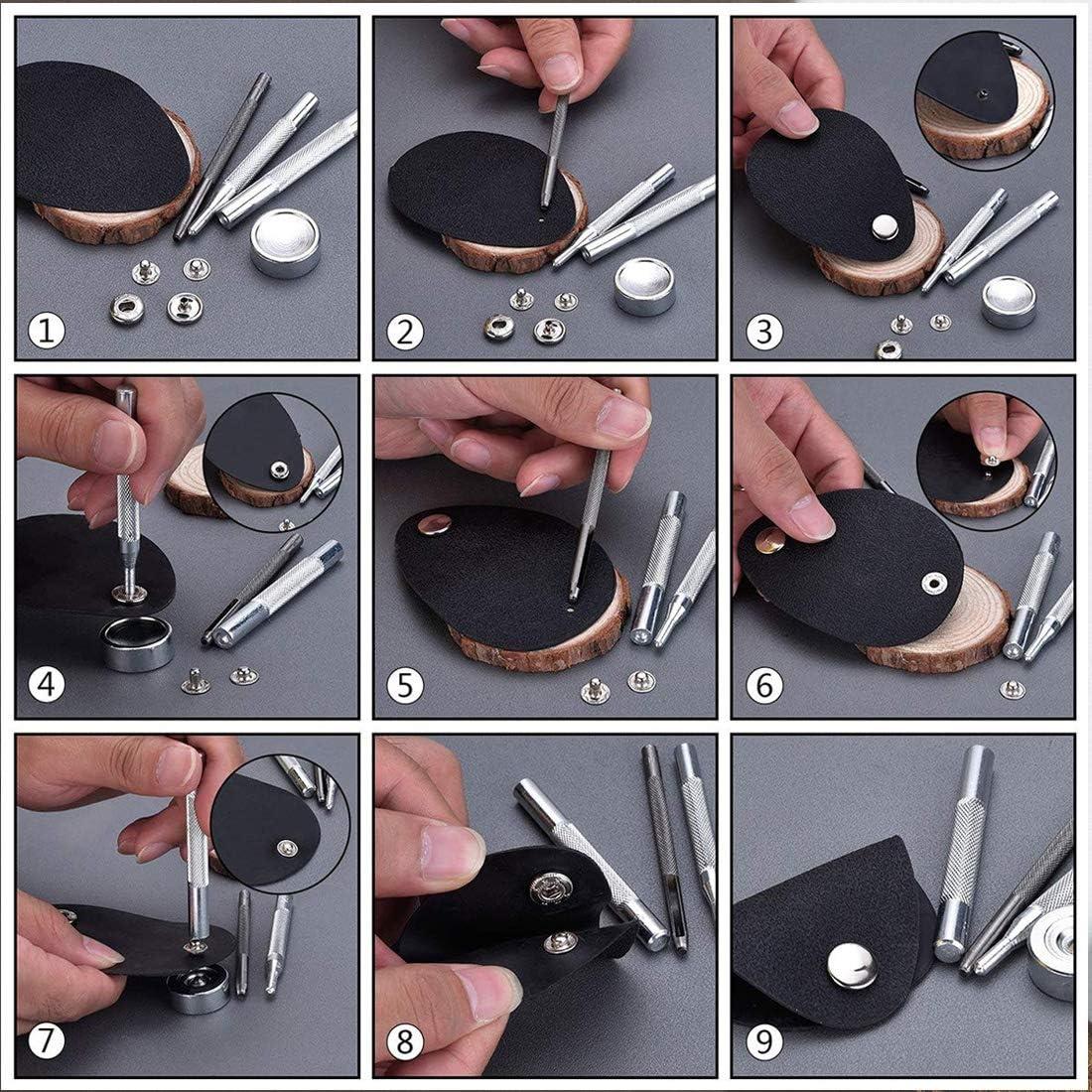 Vitorhytech 50pcs 10mm Boutons-Pression en m/étal Boutons de Pression Boutons-Pression pour la Couture Maroquinerie v/êtements Sacs Chaussures Bracelet Ceinture