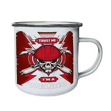 Confía en mí Soy un cráneo soldador Retro, lata, taza del esmalte 10oz/280ml z961e: Amazon.es: Hogar