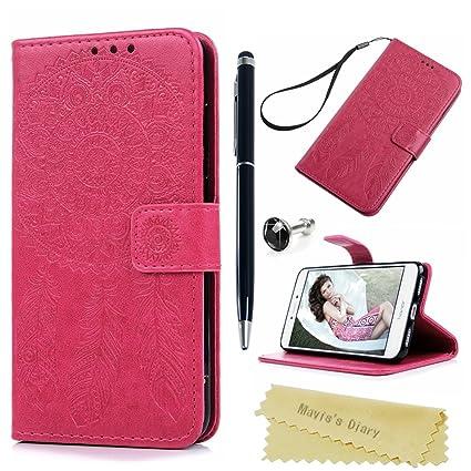 Funda Huawei P8 Lite 2017 Libro de Suave Cuero Impresión PU Premium - Carcasa Con TPU Silicona Case Interna Suave,Soporte Plegable,Ranuras para ...