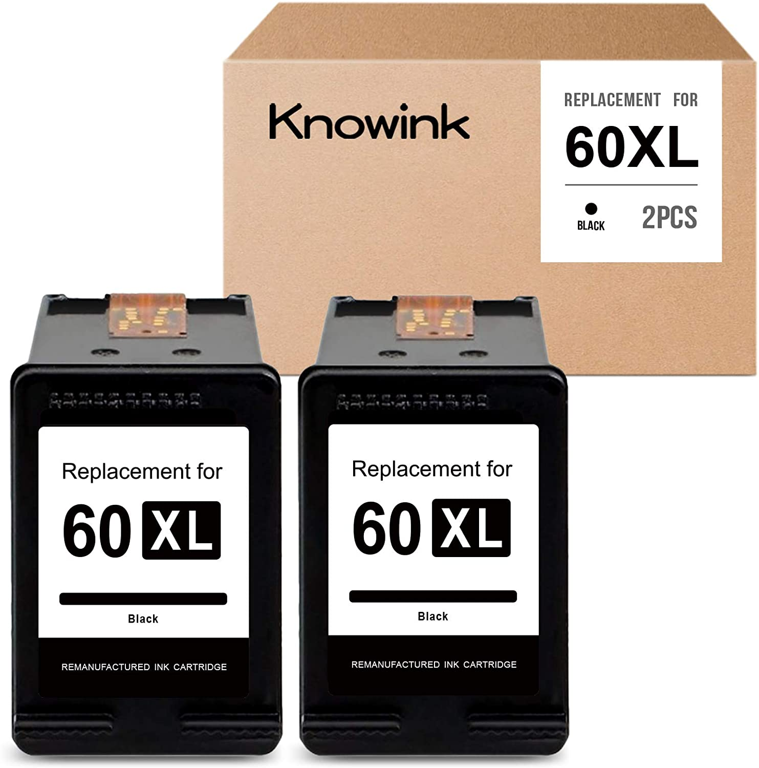 KNOWINK Remanufactured Ink Cartridge Replacement for HP 60XL 60 XL to use with Photosmart C4680 D110a Deskjet D2680 D2660 D2530 D1660 F4210 F2430 Envy 120 111 (Black, 2-Pack)
