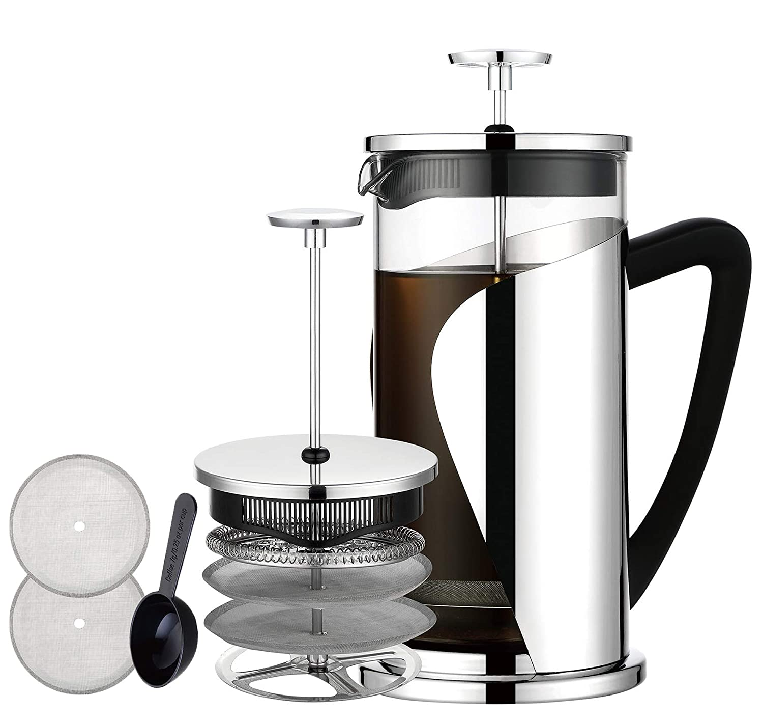 French Coffee Press, Bebeke Glass French Press Coffee Tea Maker 8 cup, 34 oz 304 Stainless Steel Coffee Press Pot with 4 Filter Screens, Dishwasher Safe Easy Clean Heat Resistant Borosilicate Glass