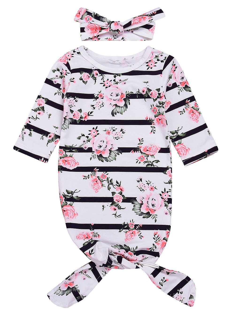 Mini honey Newborn Baby Girls Long Sleeve Sleepy Floral Striped Gown Headband Sleepwear Romper Sleeping Bags (White, 0-3 Months) by Mini honey