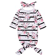 Mini honey Newborn Baby Girls Long Sleeve Sleepy Floral Striped Gown Headband Sleepwear Romper Sleeping Bags (White, 0-3 Months)