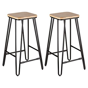 Astounding Hartleys Black Wood Hairpin Leg Bar Stools Set Of Two Gmtry Best Dining Table And Chair Ideas Images Gmtryco