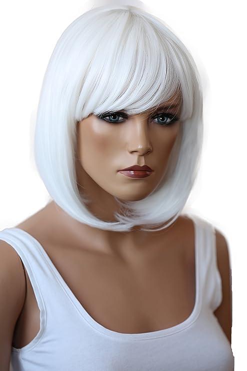 PRETTYSHOP Peluca de pelo corto peluca de Bob calor fibras sintéticas resistentes blanca # 1001 SH032s