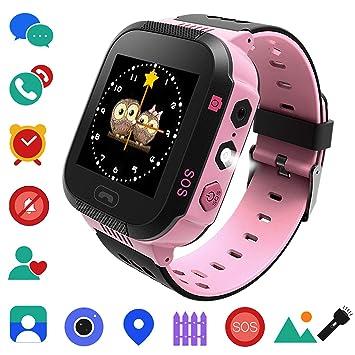 Reloj Inteligente Niños AGPS LBS - Pulsera Inteligente de 2 Vías Llamada SOS Ubicación Reloj Digital Cámara Juegos Despertador, Smartwatch Niña Niños ...