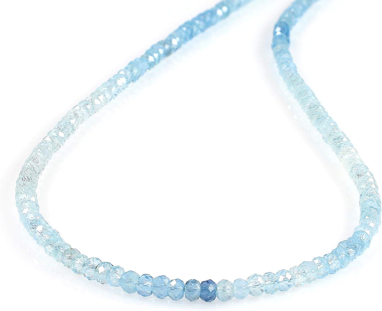 GEMSHINER Collares de piedras preciosas para mujer, collar de piedra de aguamarina con cadena de plata de ley 925, regalo para esposa, mujer, cumpleaños, regalos para ella