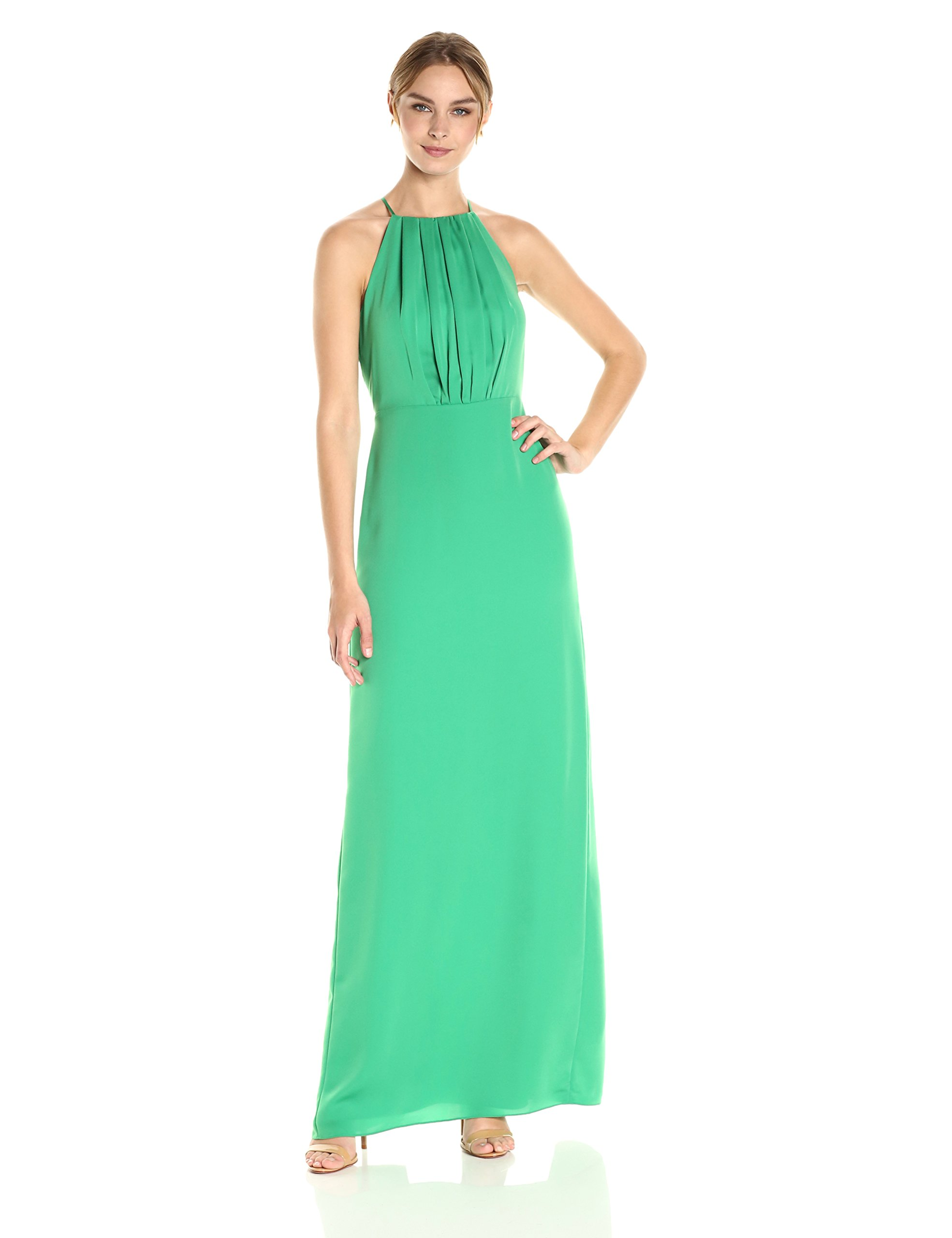 Halston Heritage Women's Sleeveless Round Neck Gown With Flounce Cirss Cross Back, Viridian, 2