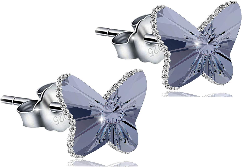 PAPOLY®,Pendientes Mariposa DOBLE Crystal Swarovski 'Magic Of Love' PLATA DE LEY 925,Con los bordes de Circonitas refleja diferentes tonos al mover, juego de pulsera de Perlas Naturales.