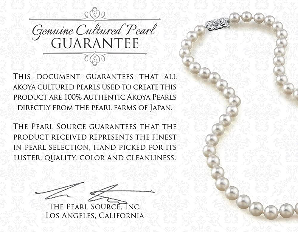 THE PEARL SOURCE 14K Gold 8.0-8.5mm AAA Quality Round Genuine White Double Japanese Akoya Saltwater Cultured Pearl Necklace in 18-19 Necklace Length for Women