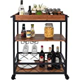CharaVector Solid Wood Bar Serving Cart,Rolling Kitchen Storage Cart for the Home with Wine Glass Holder and Lockable Caster,