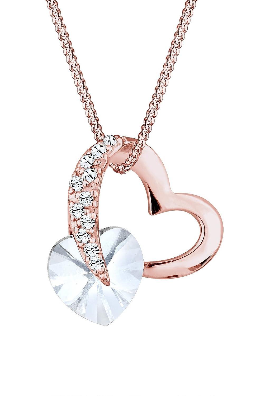 Damen Halskette Silber Versilbert Herz Liebe Kette Strass Anhänger Modeschmuck