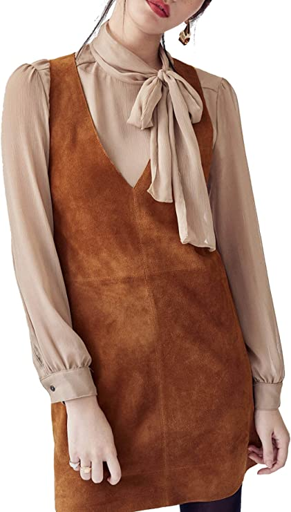 70s Dresses – Disco Dress, Hippie Dress, Wrap Dress R.Vivimos Womens Fall Faux Suede Vintage V Neck Sleeveless Overall Dress with Pockets $24.99 AT vintagedancer.com