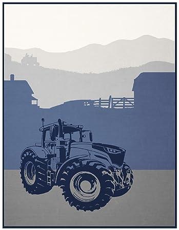 Good Morning Wohndecke Kuscheldecke 2050 Strong Traktor Grün 130 cm x 160