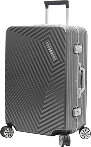 Andiamo Elegante Suitcase with Built-in TSA Lock – Zipperless 24 Inch Hardside Checked Bag- Lightweight ABS PC Luggage With 8-Rolling Spinner Wheels Black Pearl