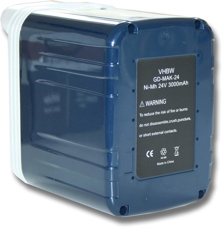 vhbw Batería NiMH 3000mAh (24V) para herramientas Makita BHR200, BHR200SAE, BHR200SFE, BHR200SH como 193127-4, B2417, B2420, B2430, BH2433.