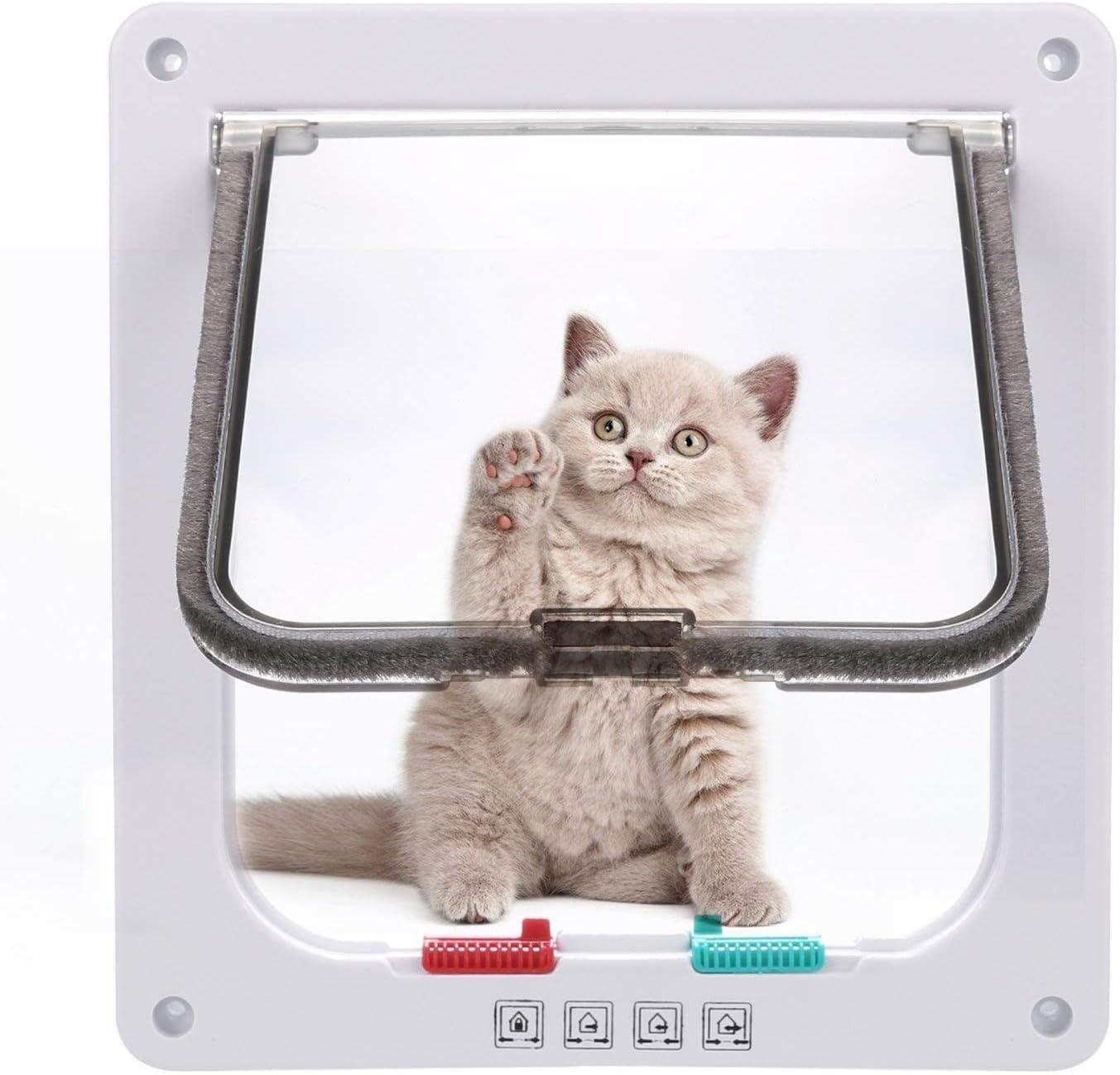 Sailnovo Puerta para Gato con Cierre magnético de 4 vías, Puerta para Mascotas para Gatos y Perros pequeños, Puerta para Gatos con túnel (Blanco, L)