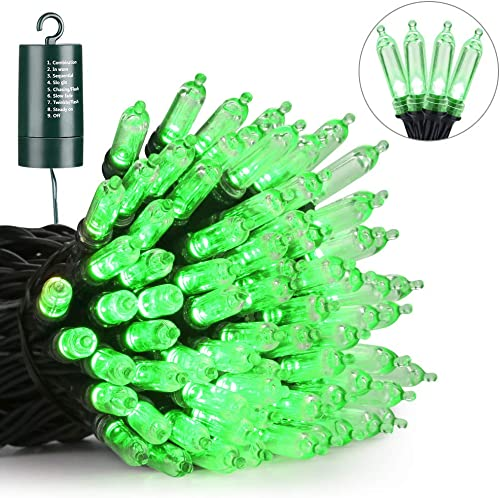 Joomer Battery Mini Christmas Lights, 33ft 100LED Battery Operated Mini Lights Waterproof with 8 Modes Timer for Christmas Trees, Home, Garden, Party and Holiday Decoration Green