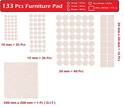 Home Cube� 133 Pcs Furniture Pads Non Skid Scratch Protection Floor Protector Furniture Pad Table Sofa Leg Pad Self Sticking Felt