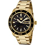 日本名表 Seiko 精工 Men's SNZH60 日本名表 Seiko 精工 5 Automatic Black Dial Gold-Tone Stainless Steel Watch