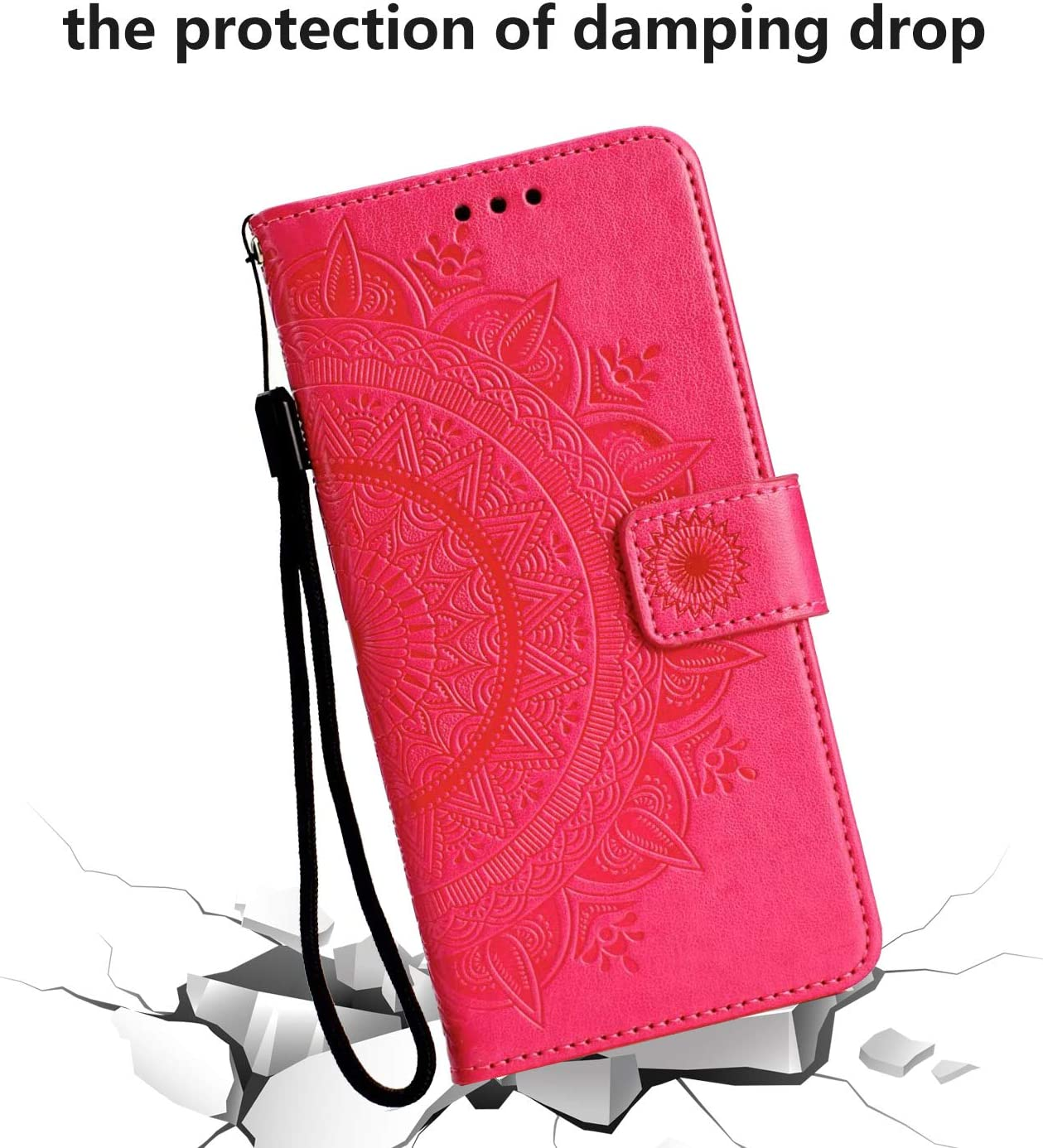 Nasuza OnePlus 7 Pro Case Flip PU Leather Case Wallet Cover Embossed Totem Mandala with TPU Shockproof Card Slots Magnetic Closure Stand Notebook Folio Protective Case Skin for OnePlus 7 Pro green