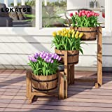 LOKATSE HOME Outdoor Wooden Planter Barrel 3 Tier Patio Flower Pot Buckets, Wood