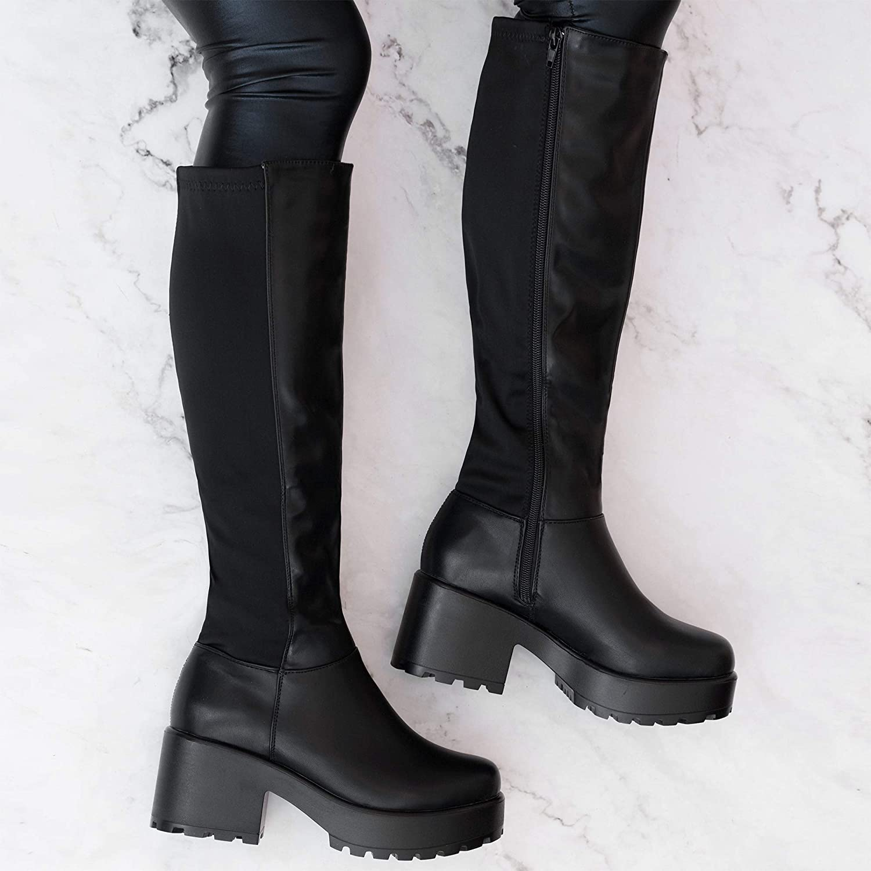 Spylovebuy Cerium Womens Platform Block Heel Chelsea Ankle Boots