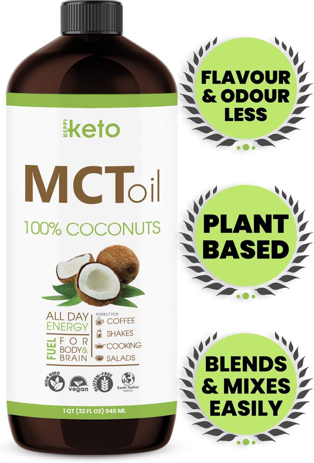 Premium MCT Oil Keto Non GMO Coconuts & Paleo Diet Friendly - Coffee Shakes & Salads. BPA Free 32oz