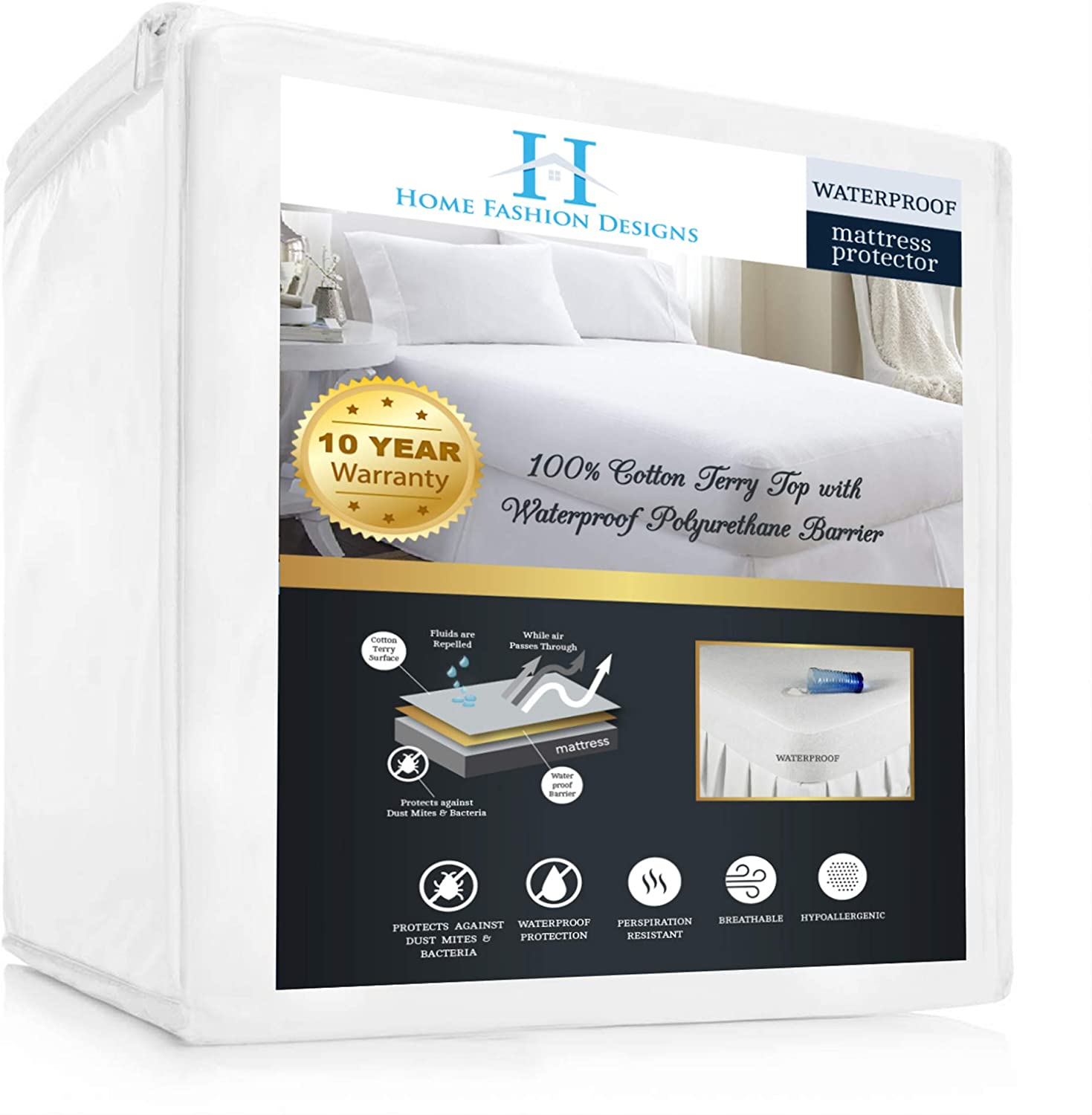 Home Fashion Designs Premium 100% Waterproof Queen Size Mattress Protector | Hypoallergenic | Vinyl Free, Noise Free | Deep Pocket Fitted Mattress Protector