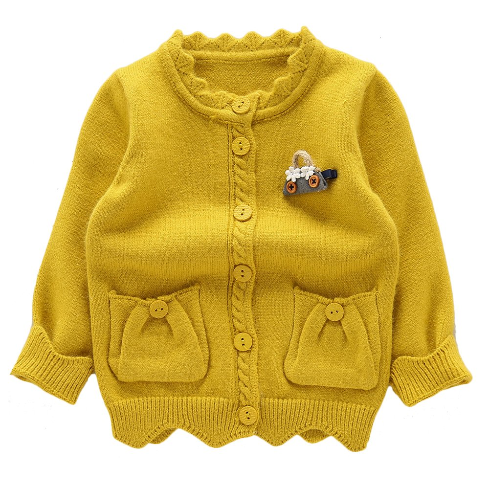 Moonnut Little Girls' Cute Pockets Knit Cardigan Sweater,3T,Yellow by Moonnut
