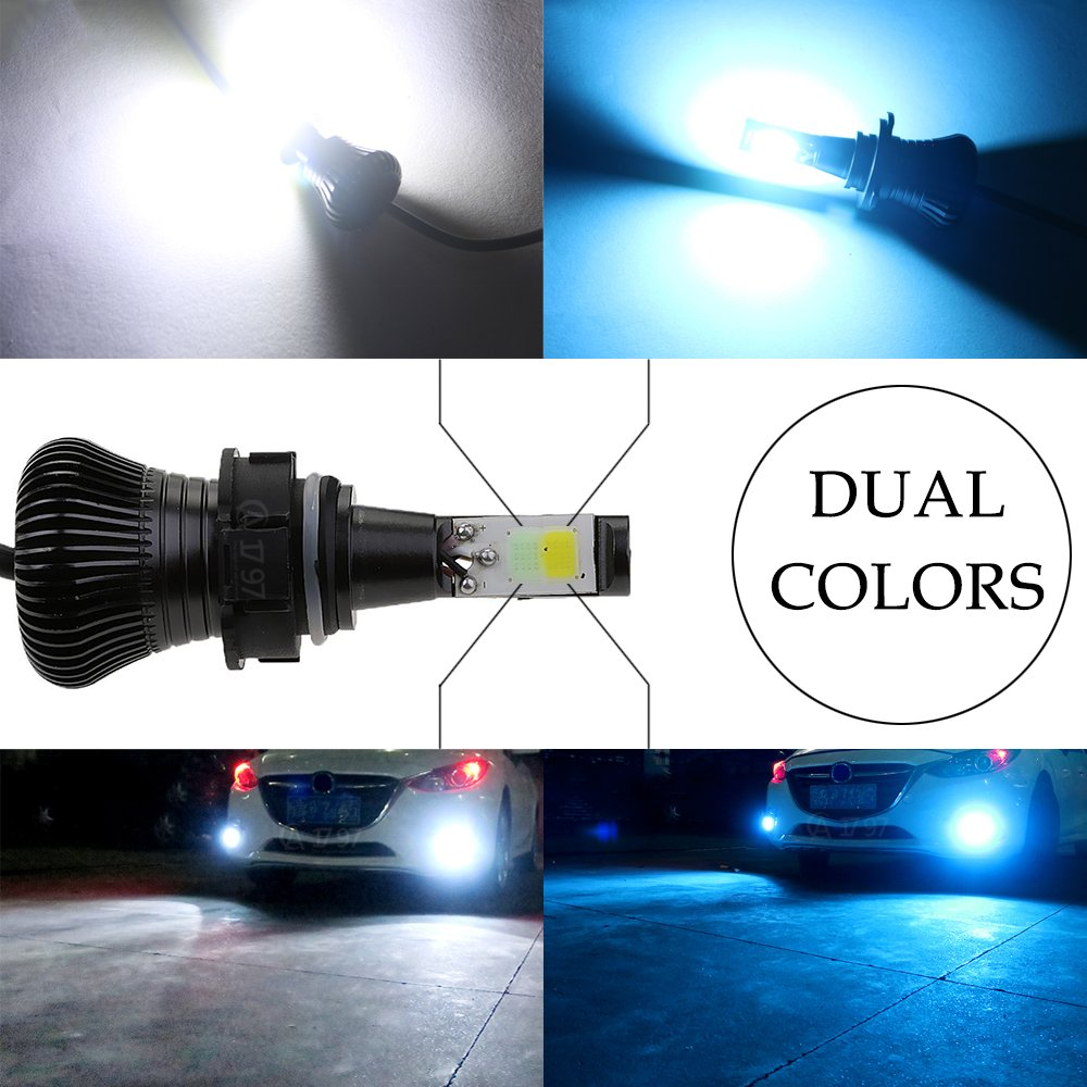 Fog Light H3 LED Bulbs White 6000K Ice Blue 8000K Dual Color for Trucks Cars Lamps DRL Daytime Running Lights Kit Replacement Bulb 12V 30W 2800LM Super Bright COB Chips 1 Year Warranty【1797】