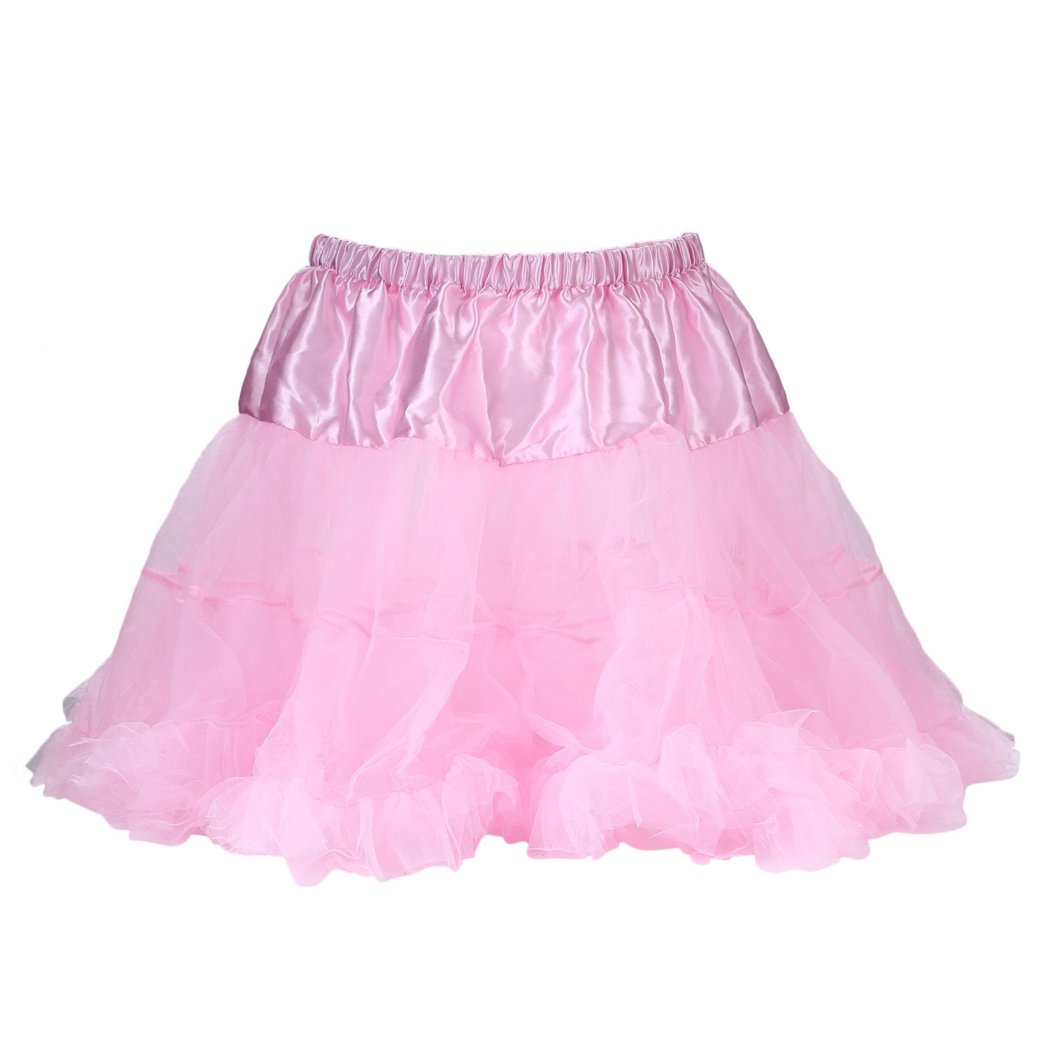 UTOVME Womens 4-Layered Petticoat Tulle Tutu Bubble Skirt for Dance Party MS003310